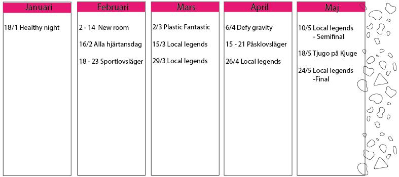 Eventkalender 2019 Klättercentret Skåne